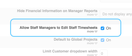 Staff Managers can be given access to update Timesheets for their Staff